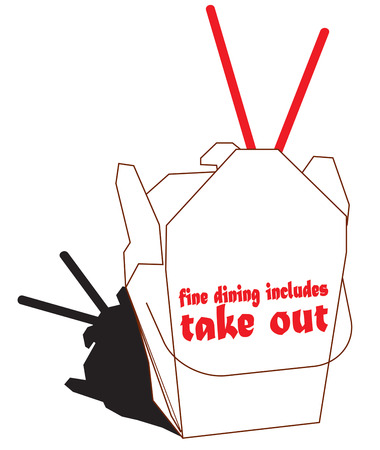 take out food: Take out Chinese food is a favorite.  Add this take out box and chopsticks to dinner napkins to create a special take out meal.