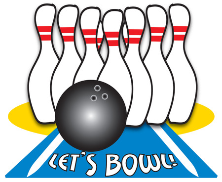 ten pin bowling: Lets create the perfect bowling shirt.  Shirts for the bowling team decorated with this design are sure to be a hit Illustration