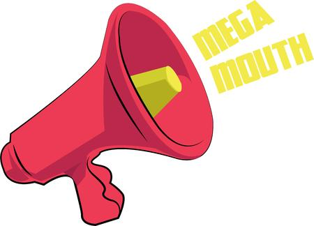 get across: Make a sound and draw attention. Get your point across with this bullhorn. Illustration