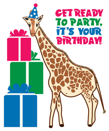 camelopard: This giraffe is all dressed up in his party hat and ready for the celebration to begin. He is just too cute as a part of your birthday party decorating scheme.