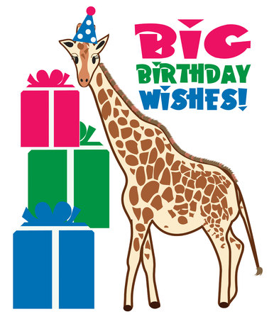 ruminant: This giraffe is all dressed up in his party hat and ready for the celebration to begin. He is just too cute as a part of your birthday party decorating scheme.