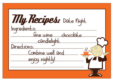 recipe decorated: Share your special culinary inspirations on these snappy recipe cards. Create a memorable recipe box decorated with this design.