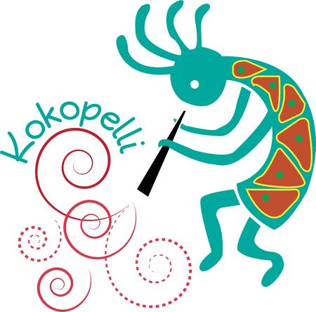prankster: Heres a Kokopelli flute player.  Graceful swirls create the visual of beautiful music. What a unique primitive design