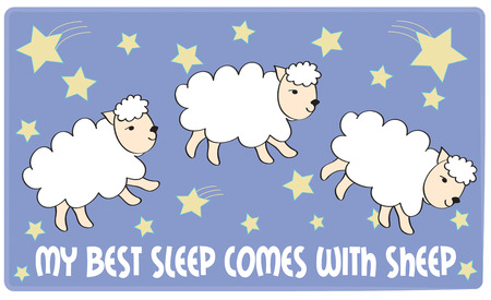 mutton: Counting sheep  helps me to sleep. This arrangement of sheep and stars is just perfect for nursery wall art. Great for sleepers too. Illustration