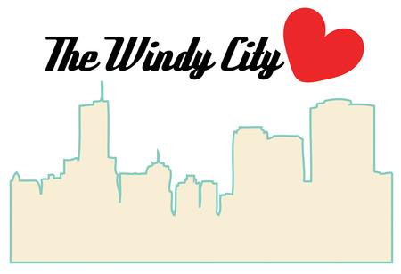 windy city: La silueta de la ciudad ventosa