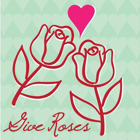 memorable: Lovely outlined rose buds come together with a heart to create a message of love.  Create a memorable Valentine with this sweet design.