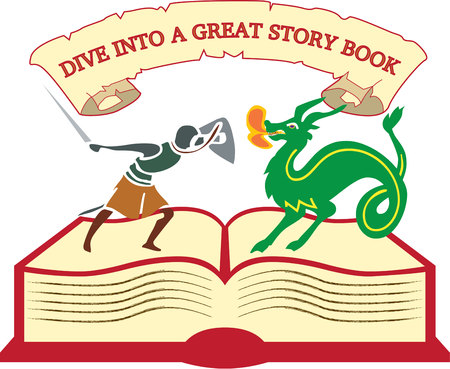 slayer: From the pages of a book, imagination comes to life.  This dragon slayer is just the ticket to encourage reading and learning.