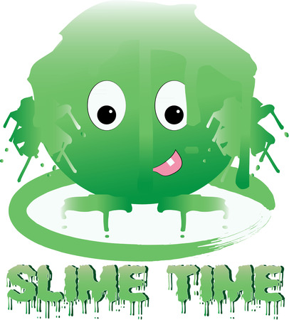 slime: Oozy yucky green slime creature Illustration