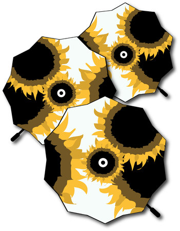 brolly: Look closely. These are special umbrellas decked out in lovely sunflowers. What a great design for raingear.