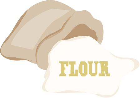 all purpose: All cooks need good ingredients. Put this bag of flour design in your kitchen tiles and aprons. Illustration