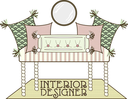 home furnishings: Elegant throw pillows create the crowning touch to this decorators bench.  What a fitting design for an interior designer!