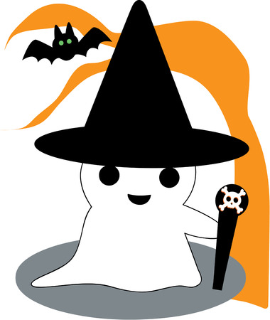 haunt: Our sweet little ghost is not too scary but super cute. Add him to a Trick or Treat bag that will be a hit year after year. Illustration