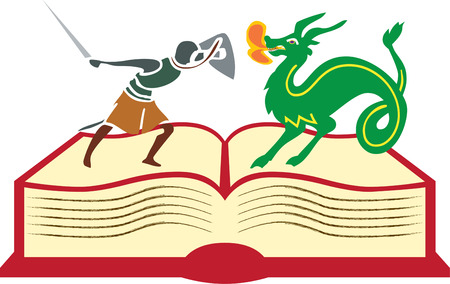 slayer: From the pages of a book imagination comes to life.  This dragon slayer is just the ticket to encourage reading and learning. Illustration