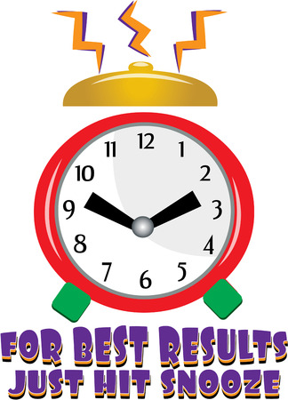 get up: Time to get up  Probably not your favorite time of the day but our colorful alarm clock adds a fun sound to morning.  Fun for bathrobe embellishment. Illustration
