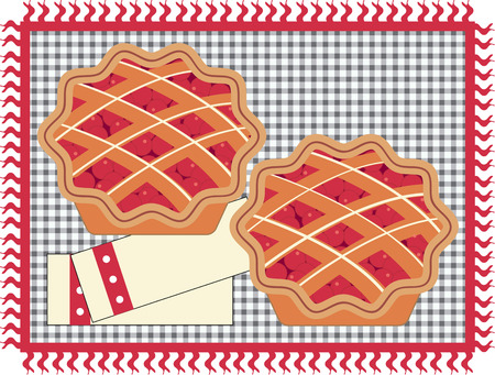 tarte aux cerises: Cherry pie sur un tapis de vichy. Illustration