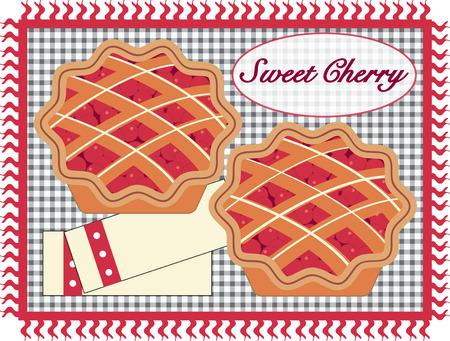 tarte aux cerises: Cherry pie sur un tapis de vichy. Qu'est-ce un grand plaisir d'�t�. Aimez cette conception sur les engins de cuisine. Illustration