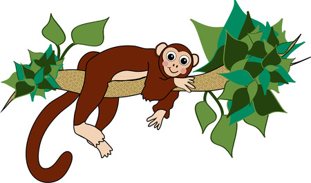 tree branch: Our funny monkey reclines on a tree branch.  This happy animal makes a great way to brighten up kids wear.