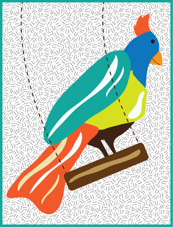 flair: Typical birds sit on a branch but this special fowl enjoys a swing  This festively colored bird makes a great way to add a bright flair to your project.