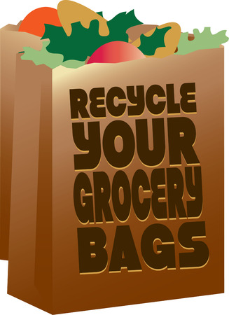 again: These big paper bags are great for the groceries. In fact so great they should be used again and again. Save a tree and reuse the bag. Illustration