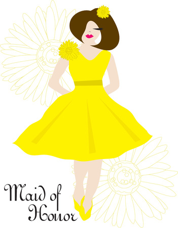bridesmaid: A beautiful bridesmaid surrounded by floral blooms adds an elegant touch to your occasion.  Perfect decoration for bridesmaid gifts. Illustration