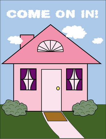 kleine meisjes: Een perfect roze huisje is het droomhuis van vele kleine meisjes. Breng dit mooie huisje in haar kamer op kussens of aan de muur decor.