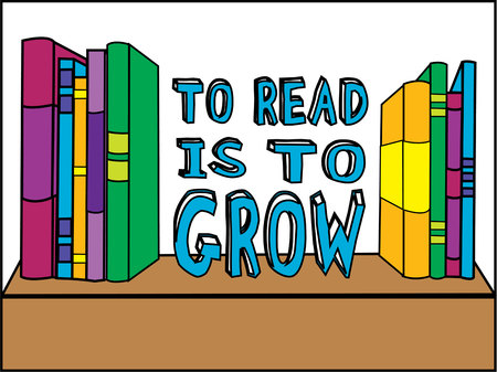 novel: Books on a shelf are just what the librarian needs to promote reading.  Create signs, bags or even shirts and encourage reading at your school.