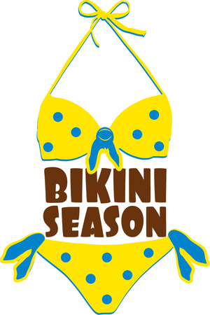 two piece bathing suit: Our itty bitty teeny weenie yellow polka dot bikini has you ready for bikini season.  Create a sun beach bag all decked out with this swimwear decoration.