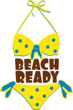 two piece swimsuits: Our itty bitty, teeny weenie, yellow polka dot bikini has you ready for bikini season.  Create a sun beach bag all decked out with this swimwear decoration. Illustration
