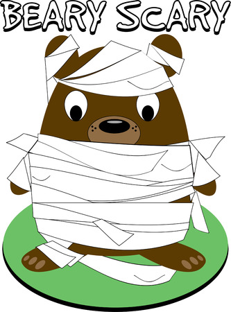 critter: All wrapped up and ready to go!  Our little bear mummy is a special Halloween critter!  Super fun on a Trick or Treat bag. Illustration