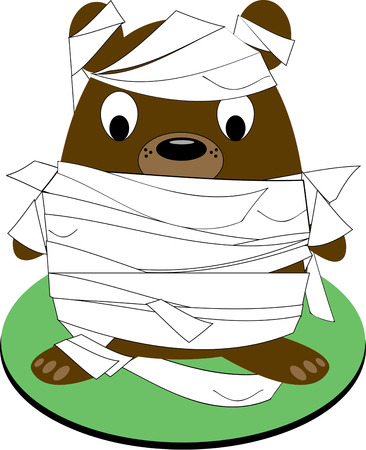 critter: All wrapped up and ready to go. Our little bear mummy is a special Halloween critter. Super fun on a Trick or Treat bag. Illustration