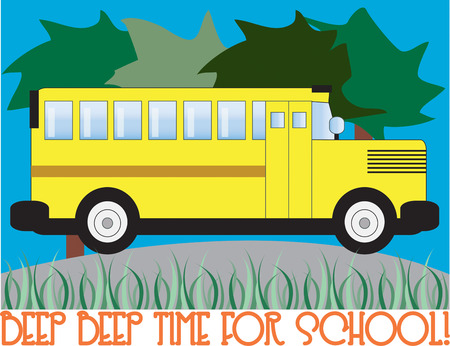yellow hills: Time for school  Get ready to catch the bus on time.  Our big yellow school bus is the perfect decoration for school gear. Illustration
