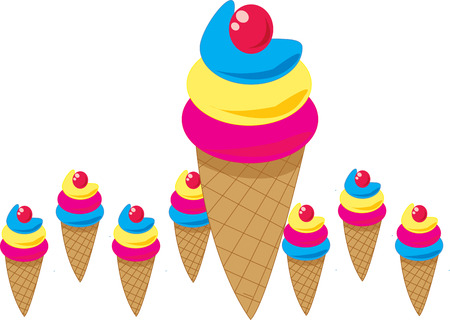 sherbet: Tasty and colorful ice cream cones