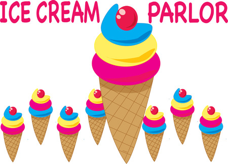 sherbet: Tasty and colorful ice cream cones are a sure eye catcher.  This collection of cones is an amazing decoration for an ice cream parlor.