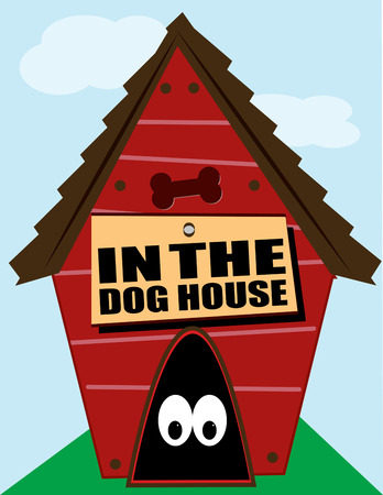 the dwelling: Looks like someone is hiding in the dog house  Add your own text to this happy dwelling and spell out your own reason for being in the dog house