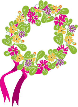 coronal: A lovely wreath made of fresh flowers makes an amazing headband.  Pink ribbons add an accent to natures best hair embellishment. Illustration