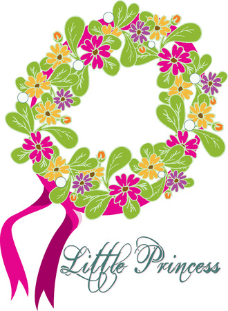fresh flowers: A lovely wreath made of fresh flowers makes an amazing headband.  Pink ribbons add an accent to natures best hair embellishment. Illustration