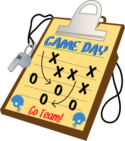 football coach: The coachs game plan is all ready for execution on this colorful clipboard.  Create something amazing for your best coach featuring this sporty design.