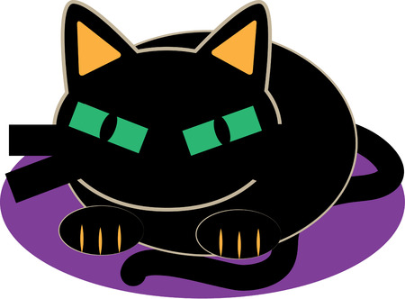 beggars: This kitty sure seems to be wearing his Halloween face.  His rectangular green eyes make him a standout among all the spooky things. Illustration