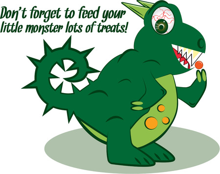 devouring: Heres a monster that is a real sweetie  well that is when he has his candy  Trickortreat with this candy devouring reptile on your bag. Illustration