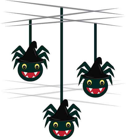 arachnids: Halloween brings sneaky scary spiders falling down all over  These friendly arachnids are a perfect decoration for a Halloween party favor Illustration