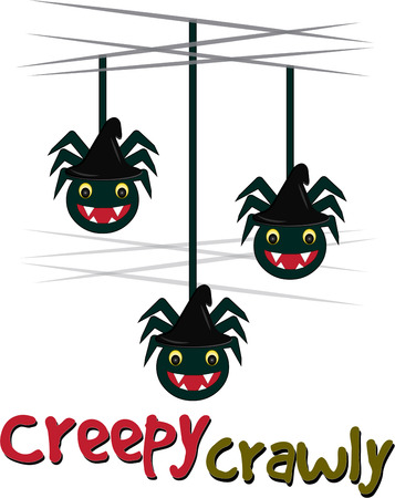 creepy crawly: Halloween brings sneaky scary spiders falling down all over  These friendly arachnids are a perfect decoration for a Halloween party favor Illustration