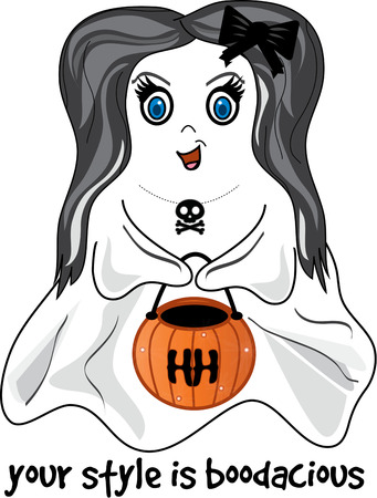 specter: Not just any ghost but a dainty and sweet little trick or treater.  Add this blue eyed darling to your treat bag and create a bag that is a treasure