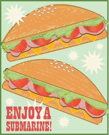 salumi affettati: Tempo per il pranzo a base di campioni il panino perfetto dei tagli freddo lattuga e pomodoro � proprio quello che serve e sul lunchbox Vettoriali