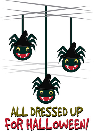 sneaky: Halloween brings sneaky scary spiders falling down all over  These friendly arachnids are a perfect decoration for a Halloween party favor Illustration