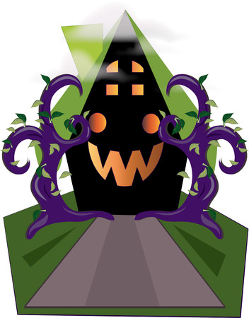 check out: What a fun haunted house  Check out the jack o lantern face windows.  Add this smiling house to your Halloween party decorations