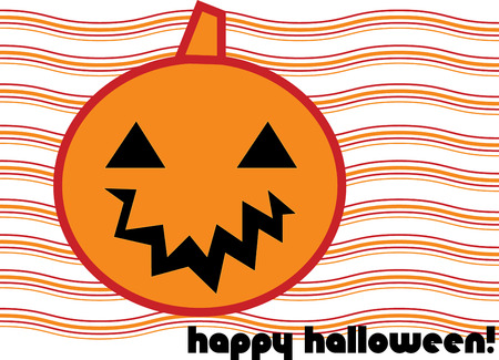 stopping: Happy Halloween from this smiling Jack o lantern face.  The striped background makes this a show stopping decoration for your Halloween party invitations. Illustration