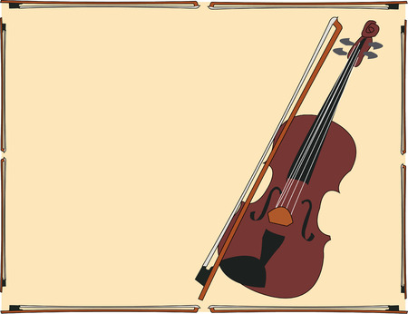 viola: A classic violin in a frame brings a beautiful musical note to your creation.  Great way to decorate a bag to hold your sheet music. Illustration