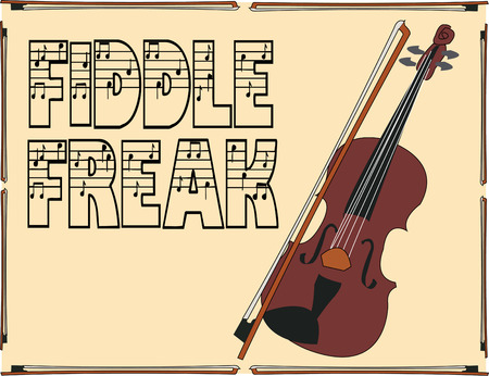 fiddle bow: A classic violin in a frame brings a beautiful musical note to your creation.  Great way to decorate a bag to hold your sheet music. Illustration
