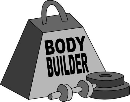 muscle shirt: Todo el constructor tiene que tener un buen conjunto de pesos. A�adir estas herramientas cl�sicas del edificio del cuerpo a una camisa del m�sculo especial para su hombre fuerte