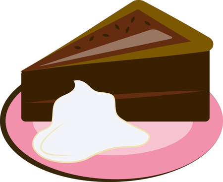 whip cream: Delicious chocolate cake served on a pretty pink plate with a dallop of cream this baked delight is sure to please. Great for kitchen linens Illustration